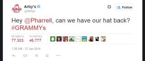 Arby Tweet to Pharrell