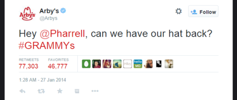 Arby Tweet to Pharrell