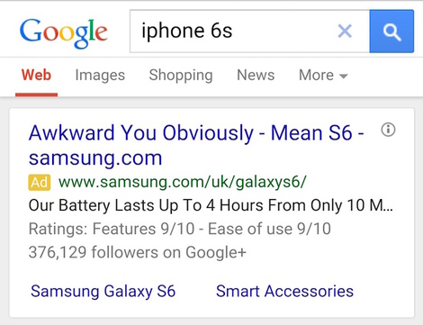Competitor SEO - Samsung's iPhone 6 Ad