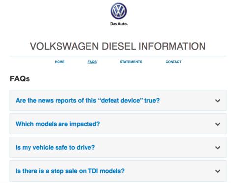 Volkswagen diesel faq website