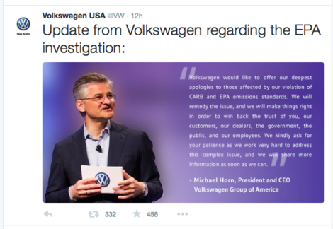 Volkswagen statement on Twitter