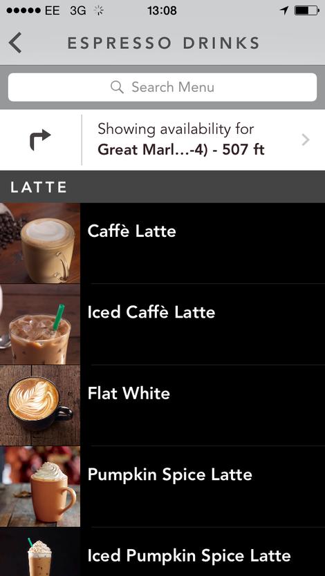 starbucks order and pay menu