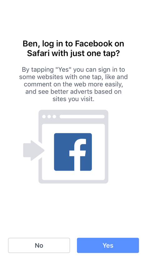 facebook signin prompt on safari