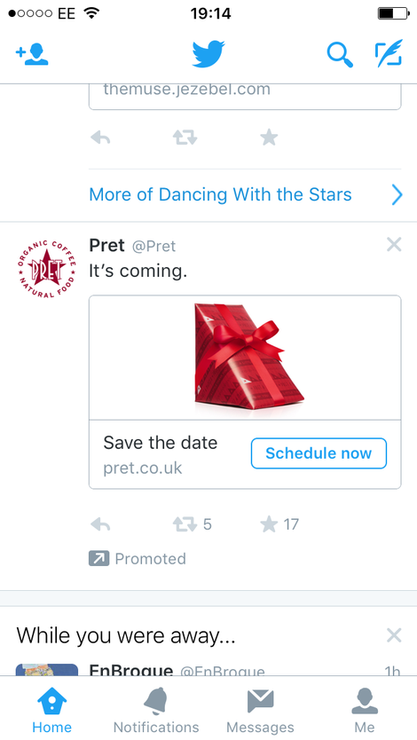 pret a manger promoted tweet