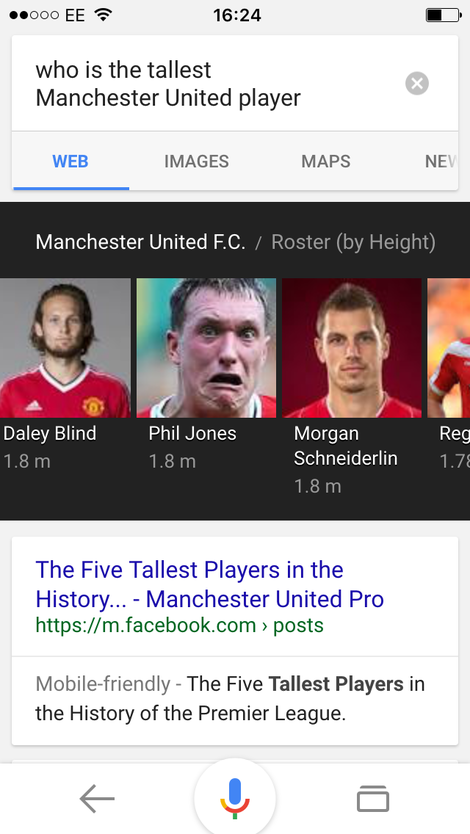 MUFC roster by height