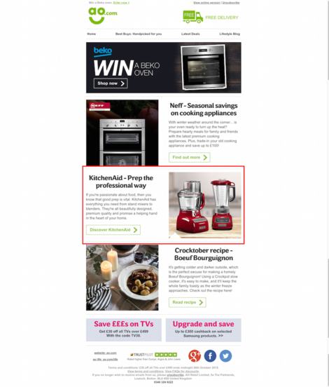 ao.com email featuring kitchenaid
