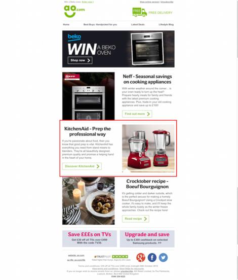 ao.com email featuring kitchenaid