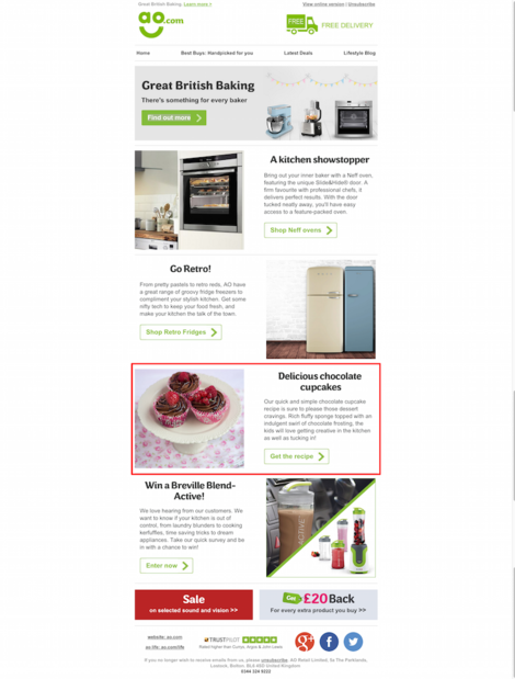 ao.com email featuring baking article