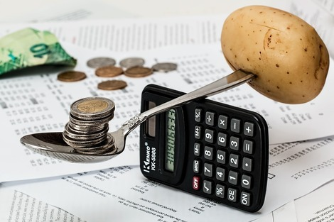 potato and money on calculator