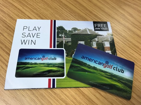 The American Golf loyalty card and accompanying flyer