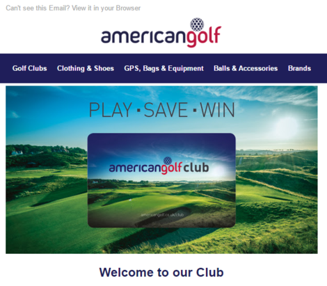 American Golf's welcome email - could do much better