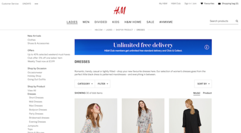 h&m dresses category