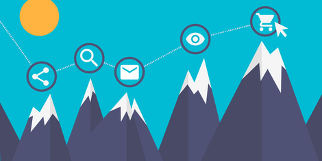 mountains with icons at their peaks representing marketing channels