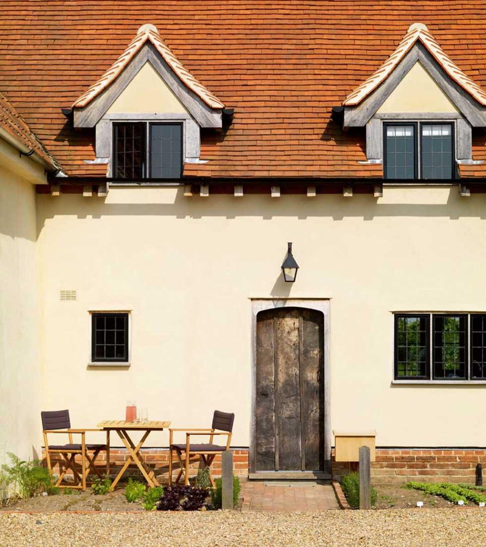 The exterior of a restored farmhouse