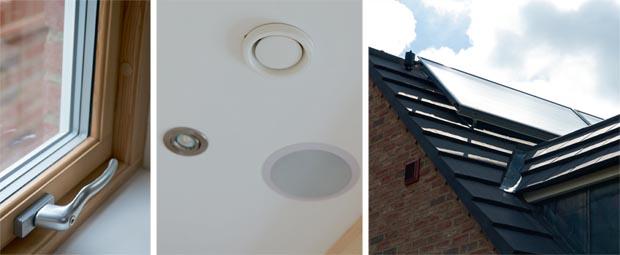 Triple glazed windows; mechanical ventilation system; solar panels for heating hot water