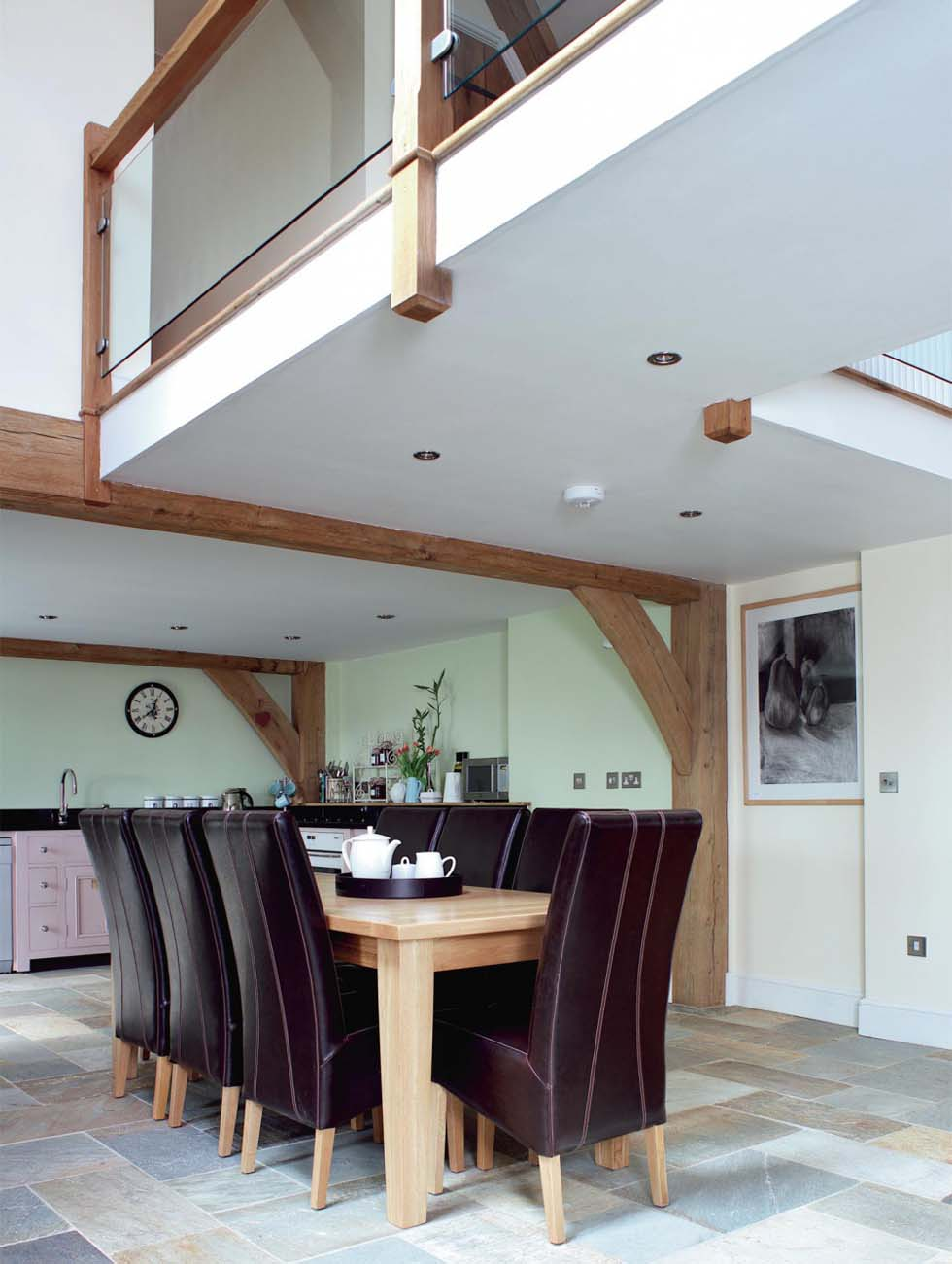 The dining area overlooked by the galleried landing