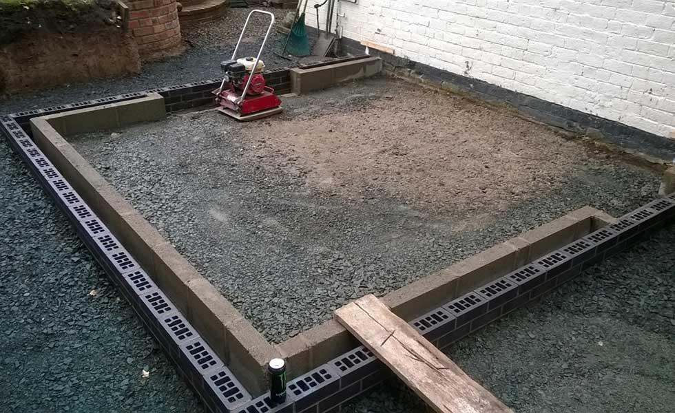 granular sub-base floor for new concrete floor