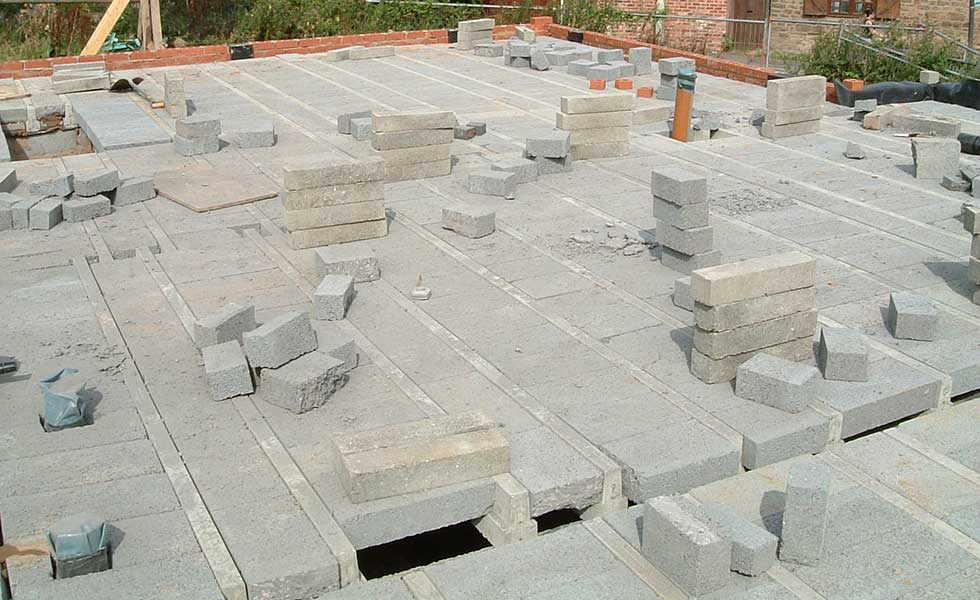 installing a beam and block floor structure