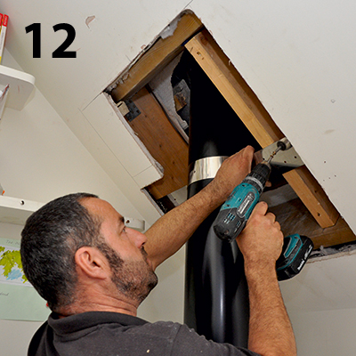 securing the flue with a rafter support