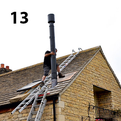 fitting the top section of the flue on the roof