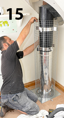 fitting a protective cage for the flue