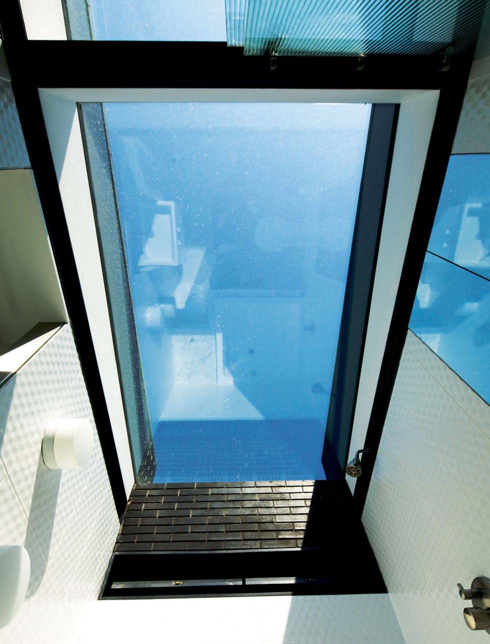 glass ceiling to bathroom