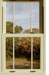 sliding sash window with autumn view