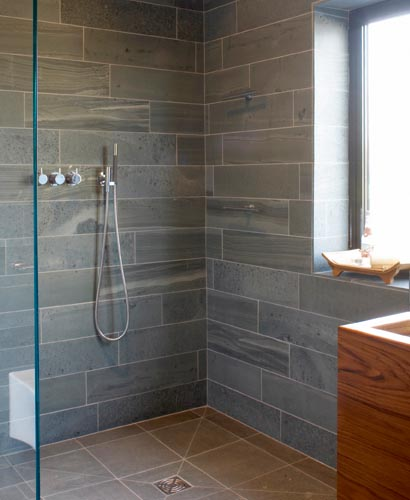 Wetroom design homebuilding renovating for Slate wet room