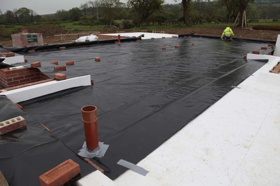 A DPC membrane was then laid over layer 2. No radon barrier was required in this location
