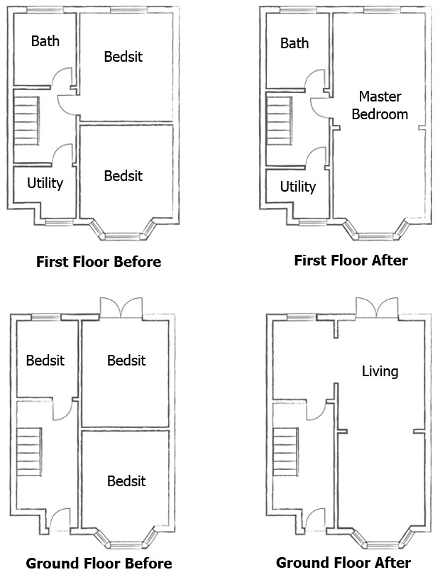 Opening Up Internal Spaces on large victorian floor plans