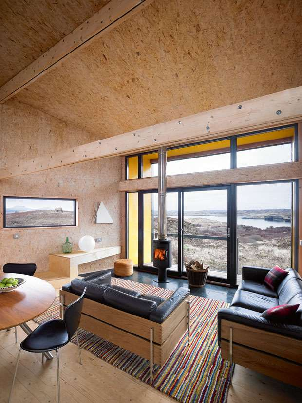 OSB clad home interior with large picture window