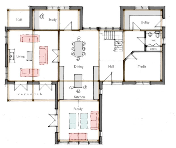 Open plan family home floor plan