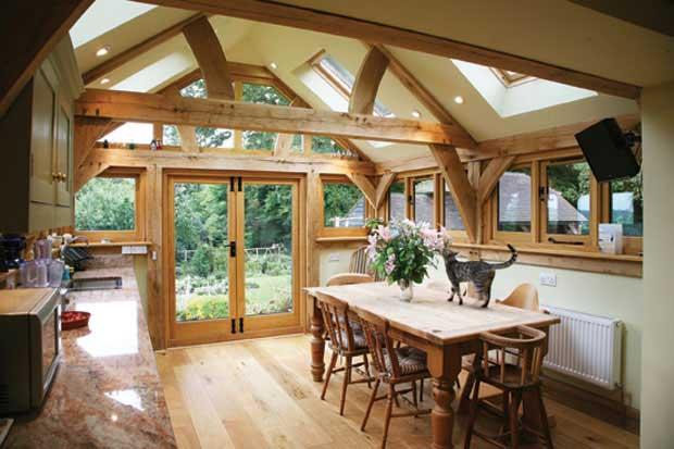 oak beam interior in kitchen in converted barn