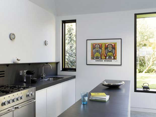 monochrome kitchen in pavilion style extension