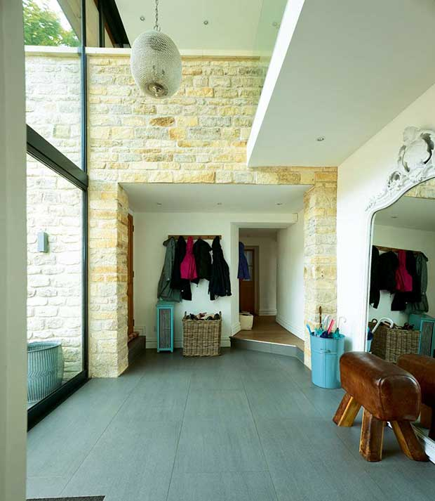 Exposed brickwork in a remodelled Victorian villa