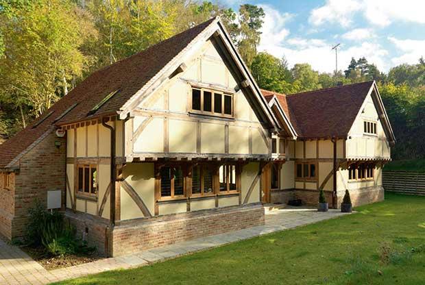 Jettied upper storey on an oak frame home