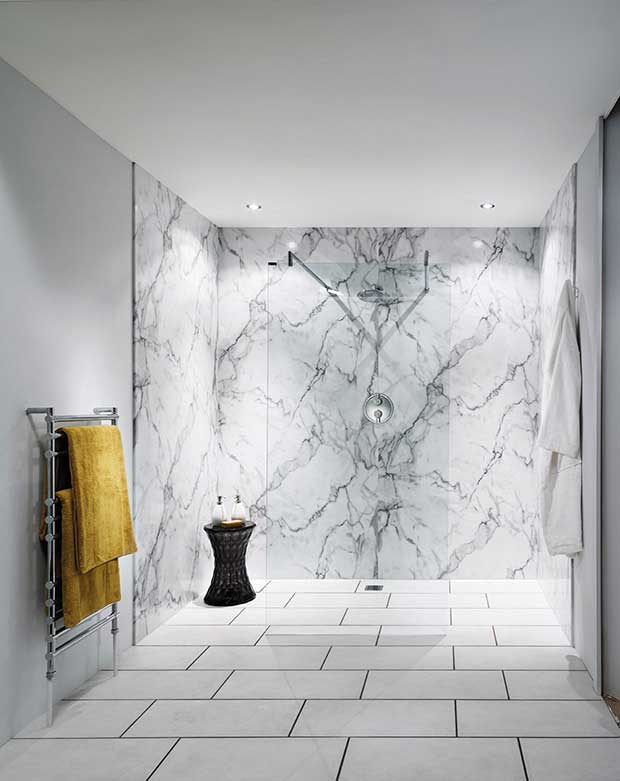 Nuance Laminated Wall Panel in Calacatta Marble
