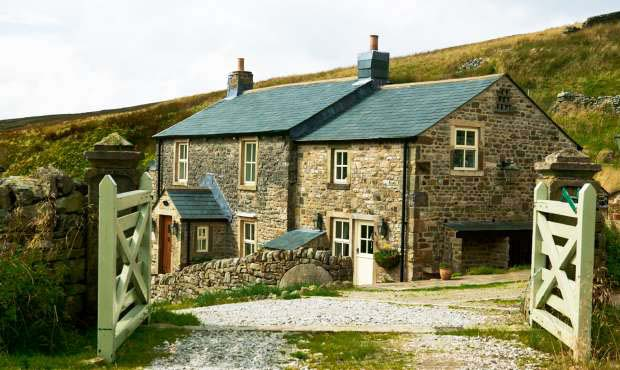 Replaced slate roof on a stone cottage in Yorkshire