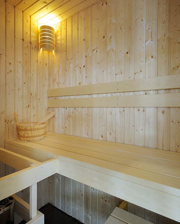 The sauna at white tail lodge