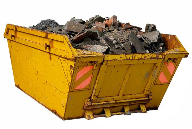 Yellow refuse skip