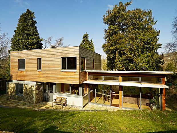 Contemporary new-build cedar clad home in a conservation area