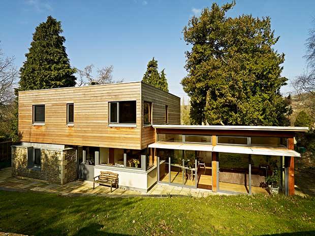 Contemporary cedar clad home in a conservation area