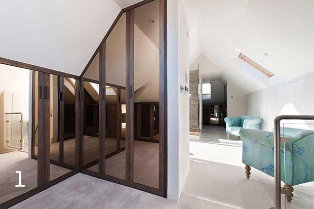 Mirrored built in loft storage