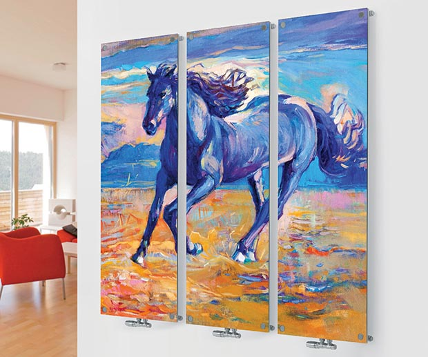 Horse painting radiator from Glass Designer M10 Horse Triple Image from Agadon