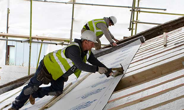 Insulating the exterior of a pitched roof