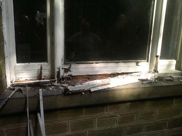 rotten timber window frame