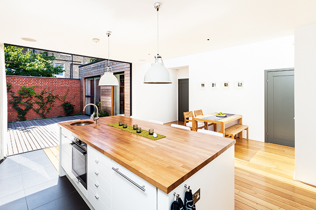 Kitchen diner of a self build on a small corner plot