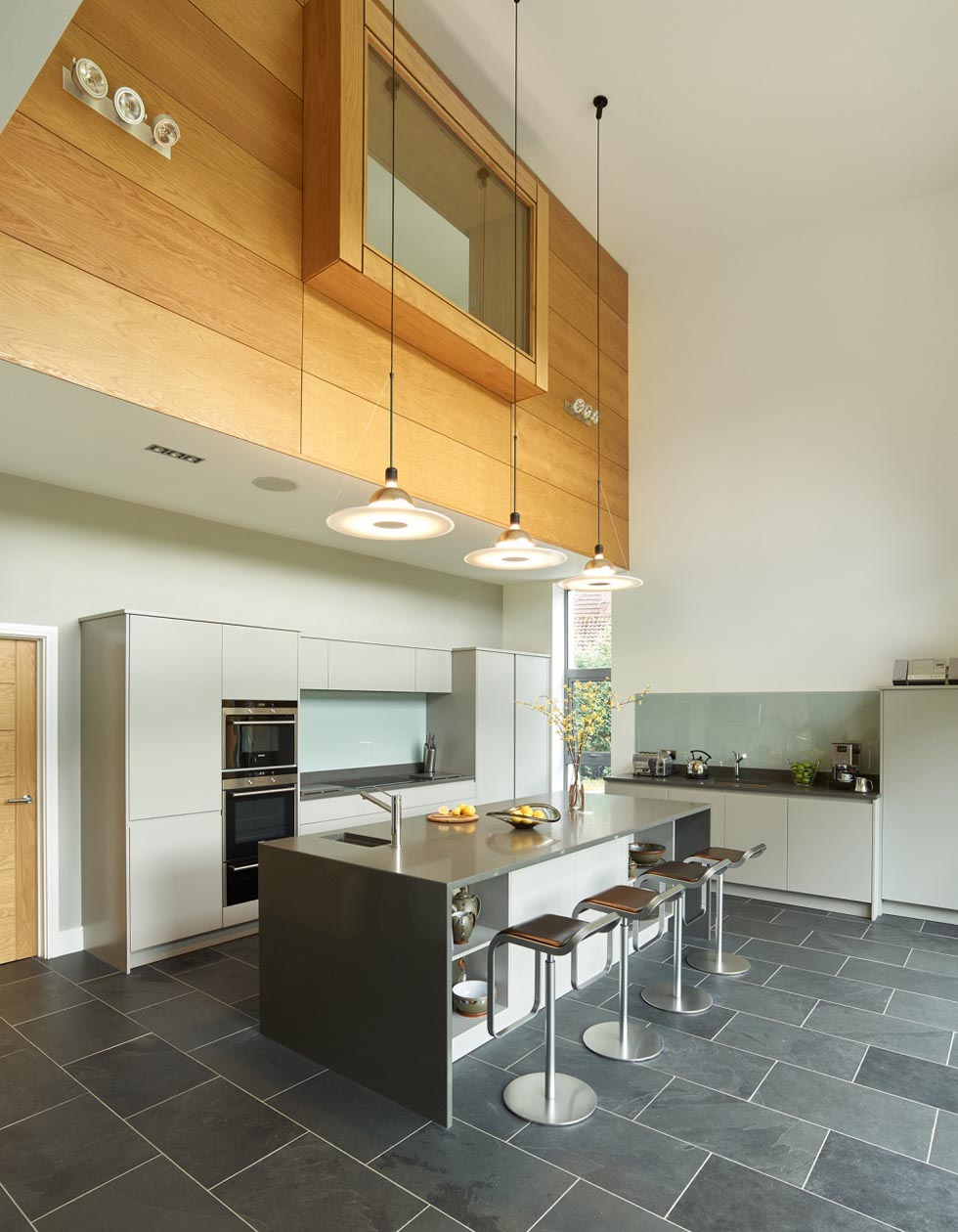 the double height kitchen diner in a remodel of a 1960s home