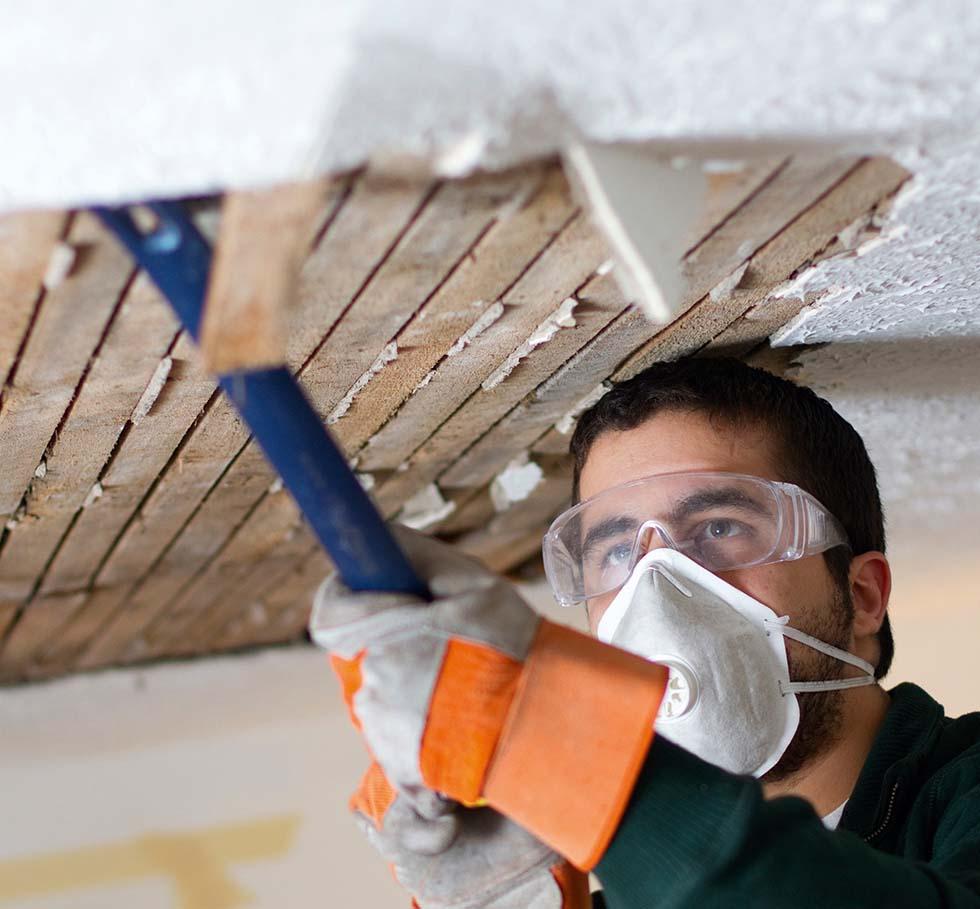 Repairing old ceilings homebuilding renovating for Is there asbestos in old drywall