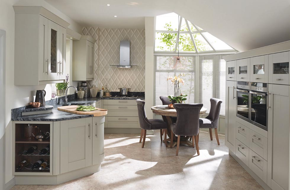 Don't feel you have to sick to the layout that was used previously. This kitchen has been fitted with Second Nature's Milbourne Shaker range in Stone finish. From £9,000